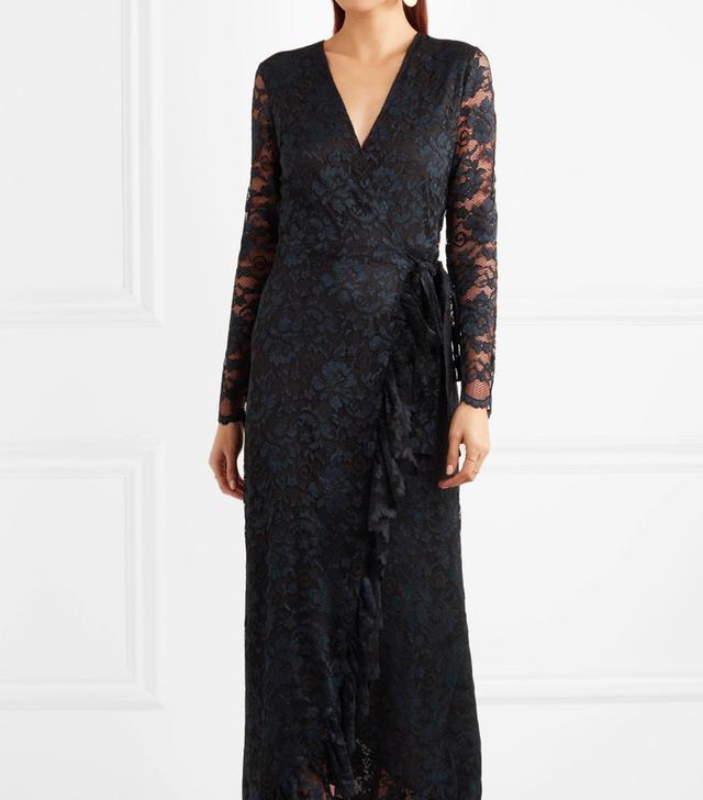 Ruffle-trimmed Lace Wrap Maxi Dress