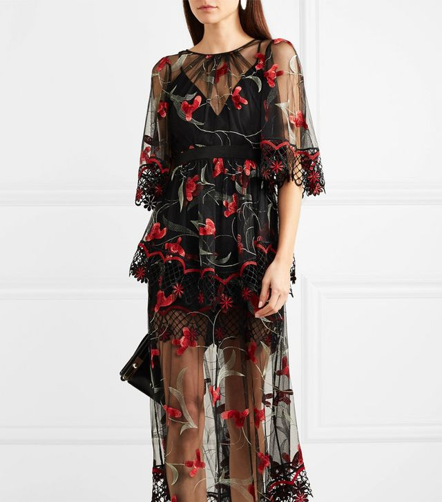Marigold Guipure Lace-trimmed Embroidered Tulle Maxi Dress