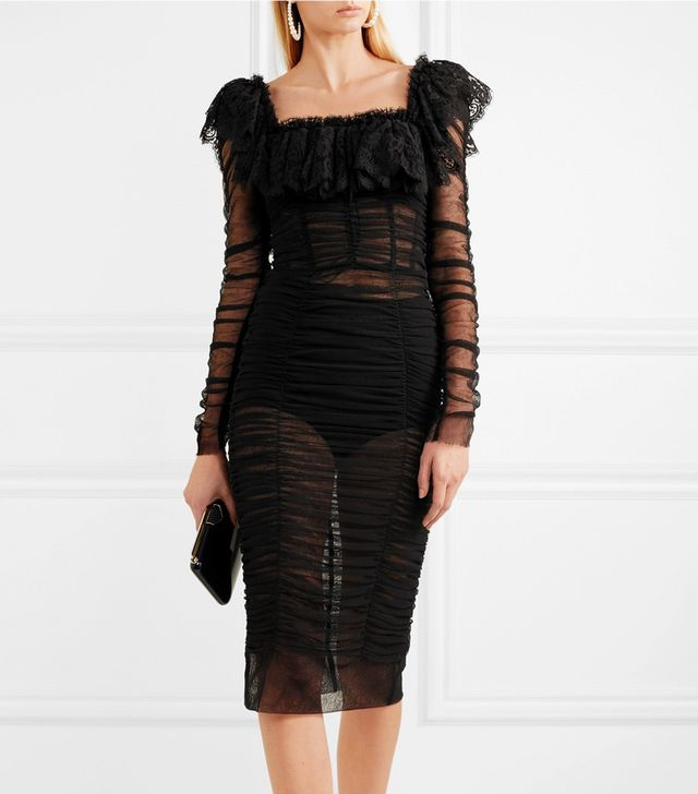 Lace-trimmed Ruched Tulle Midi Dress