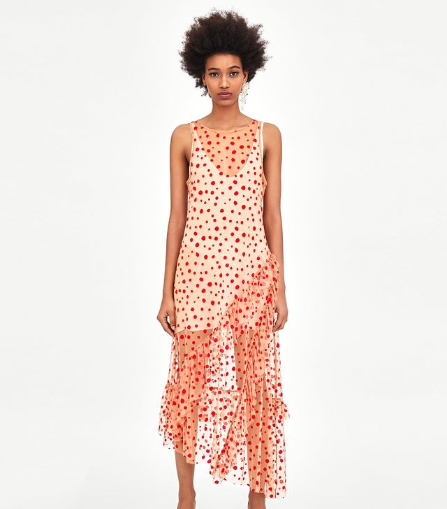 Zara Semi Sheer Polka Dot Dress