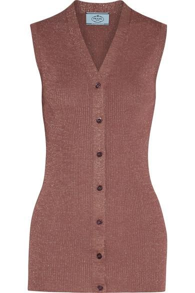 Metallic Ribbed-knit Vest