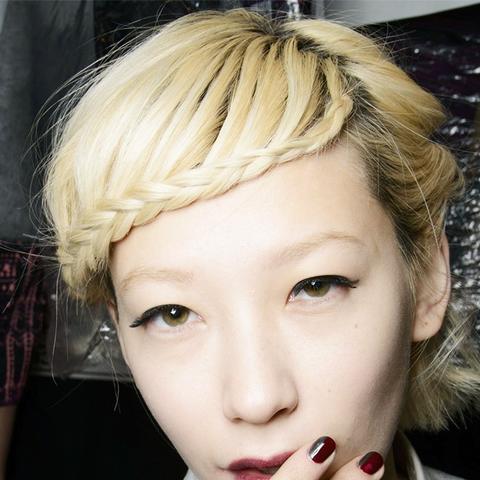 10 braids that look amazing on short hair byrdie braided bangs urmus Image collections
