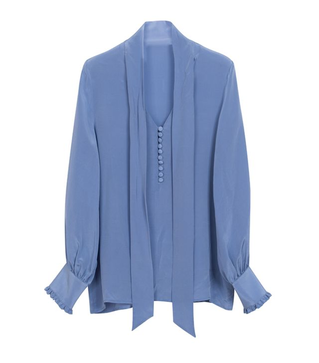 Front Row Shop Pussybow Silk Shirt