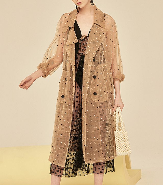 Front Row Shop Oversize Double Breasted Mesh Trench Coat