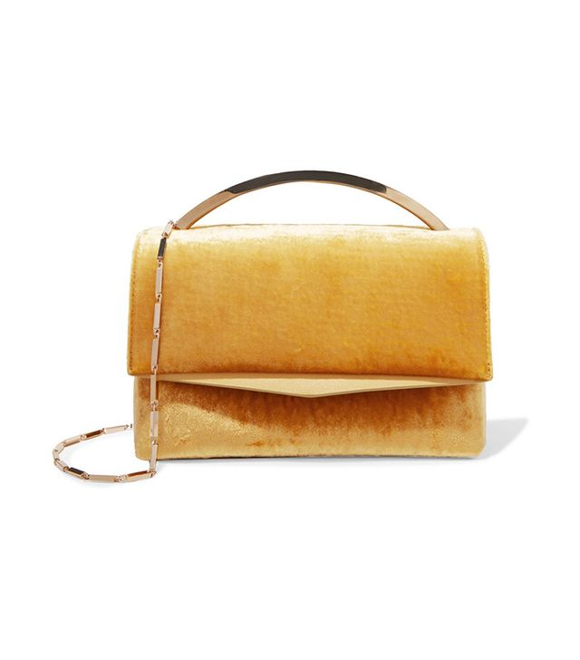Eddie Borgo Boyed Vanity Leather-Trimmed Velvet Leather Shoulder Bag