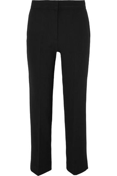 Piped Crepe Straight-leg Pants