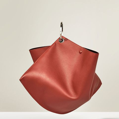 Studio Leather Maxi Leather Bucket Bag with Hoops