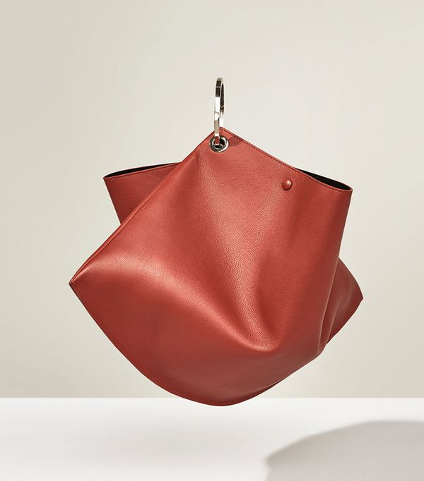 Zara Studio Leather Maxi Leather Bucket Bag with Hoops
