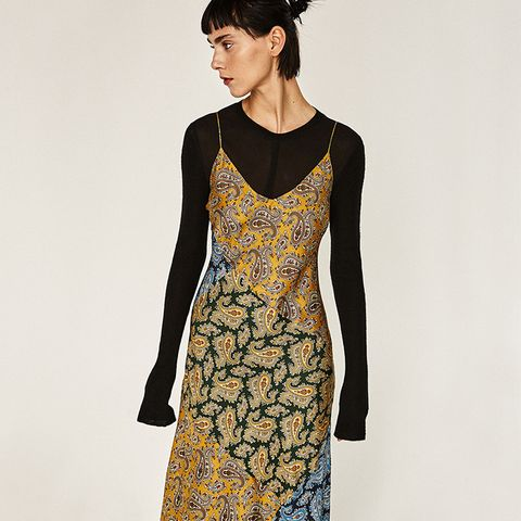Long Studio Patchwork Paisley Slip Dress