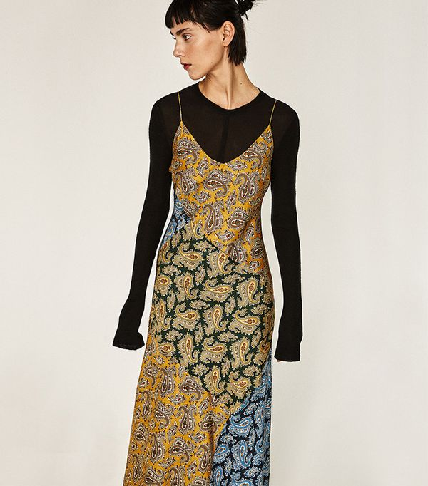 Zara Long Studio Patchwork Paisley Slip Dress