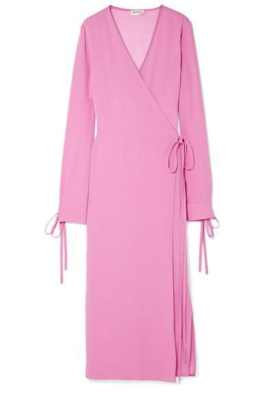 Tie-Detailed Crepe Wrap Dress