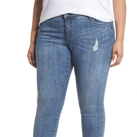 Reese Distressed Ankle Straight Leg Jeans