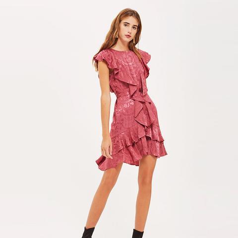 Jacquard Ruffle Skater Dress