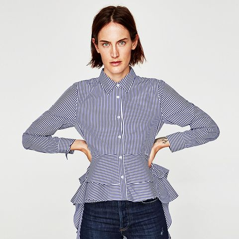 Poplin Shirt With Asymmetric Ruffles