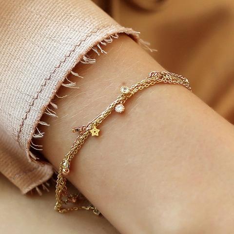 Ascott Rose Gold Crystal Charm Bracelet