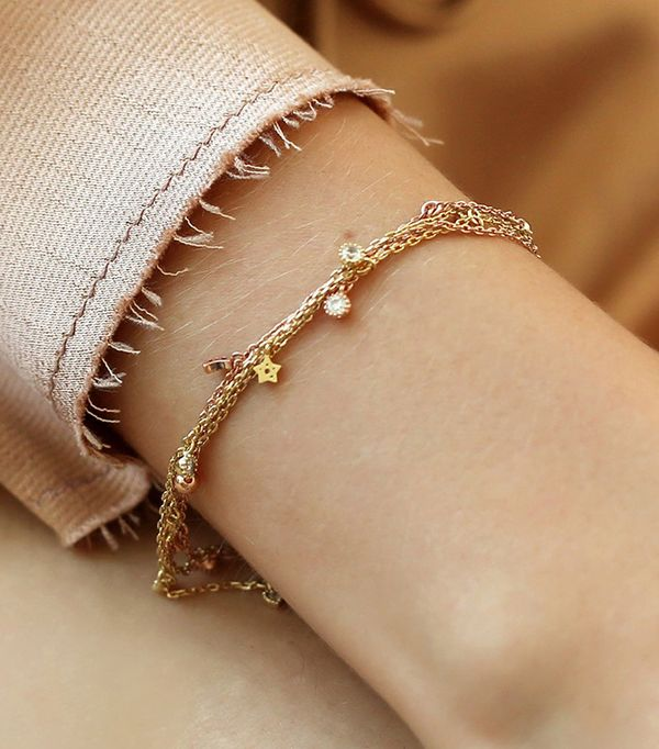 how to layer jewelry - Adornmonde Ascott Rose Gold Crystal Charm Bracelet