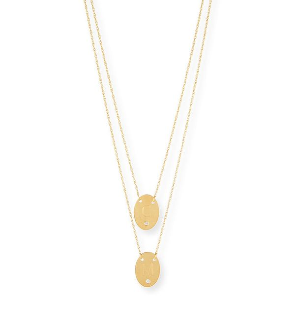 how to layer jewelry - Jennifer Zeuner Double Oval Disc Personalized Necklace