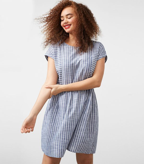 cheap summer dresses - Violeta Striped Cotton-Blend Dress