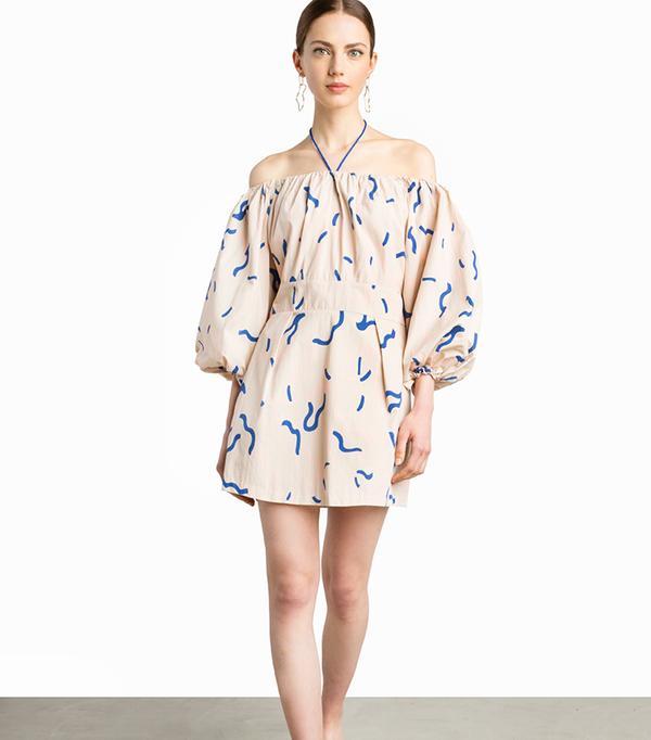 cheap summer dresses - Pixie Market Graphic Balloon Sleeve Dress