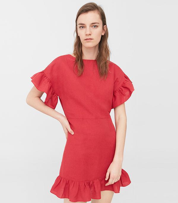 cheap summer dresses - Mango Ruffled Linen Dress