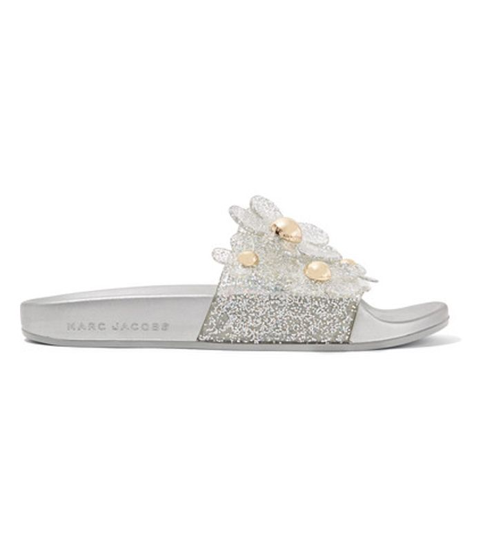 Daisy Appliquéd Glittered Rubber Slides by Marc Jacobs