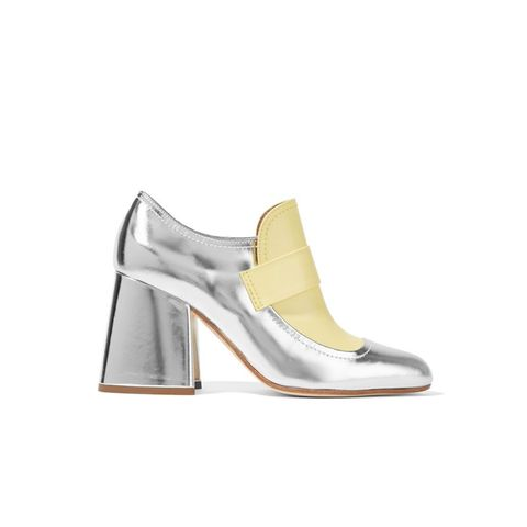 Metallic Leather Two-Tone Pumps