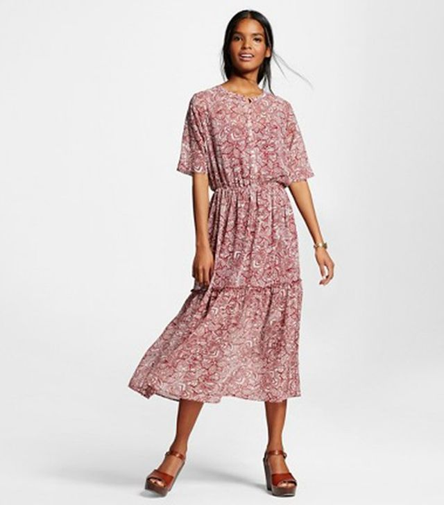 Who What Wear Printed Midi Dress