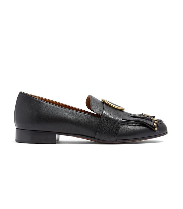 Olly embellished fringed leather loafers