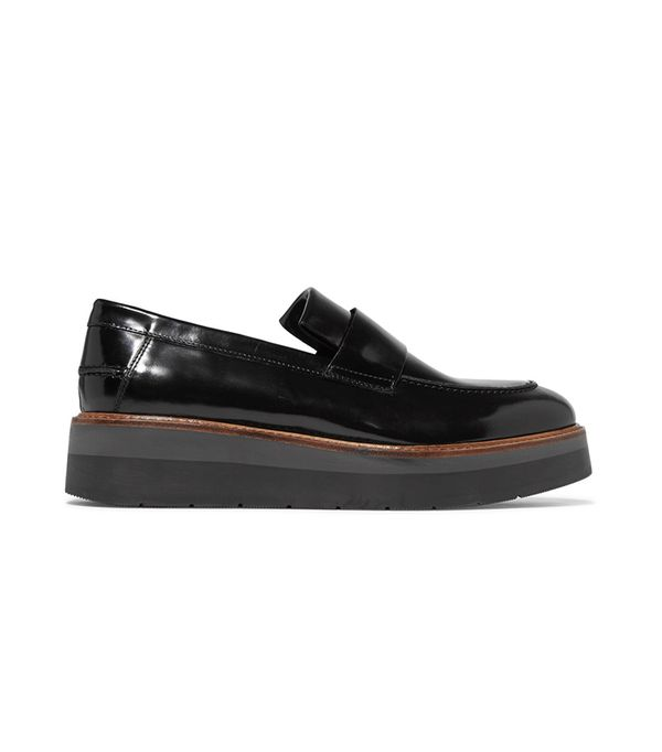 Dorsey Glossed-leather Platform Loafers