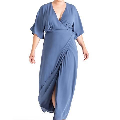 Olivia Print Wrap Maxi Dress