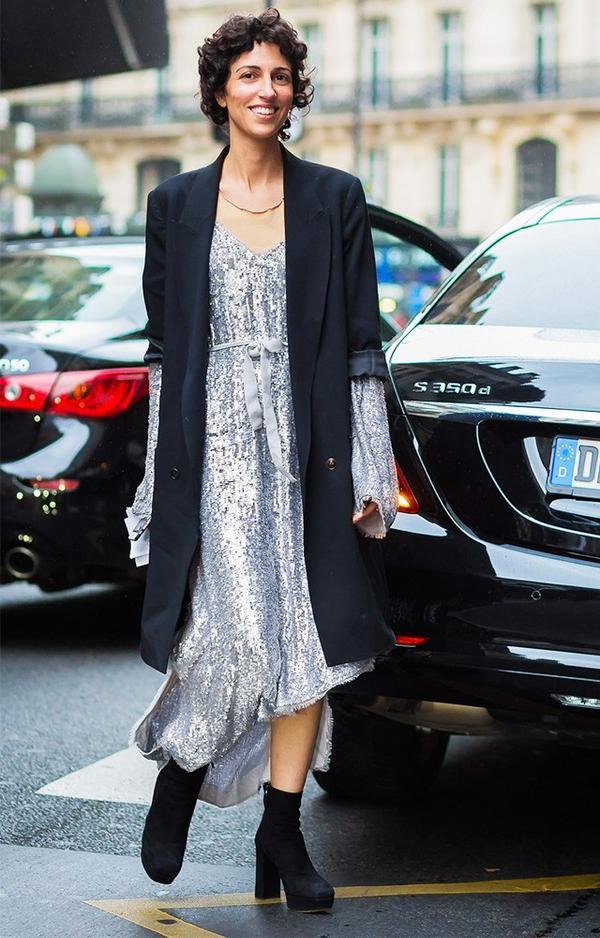 sequin maxi dress with blazer