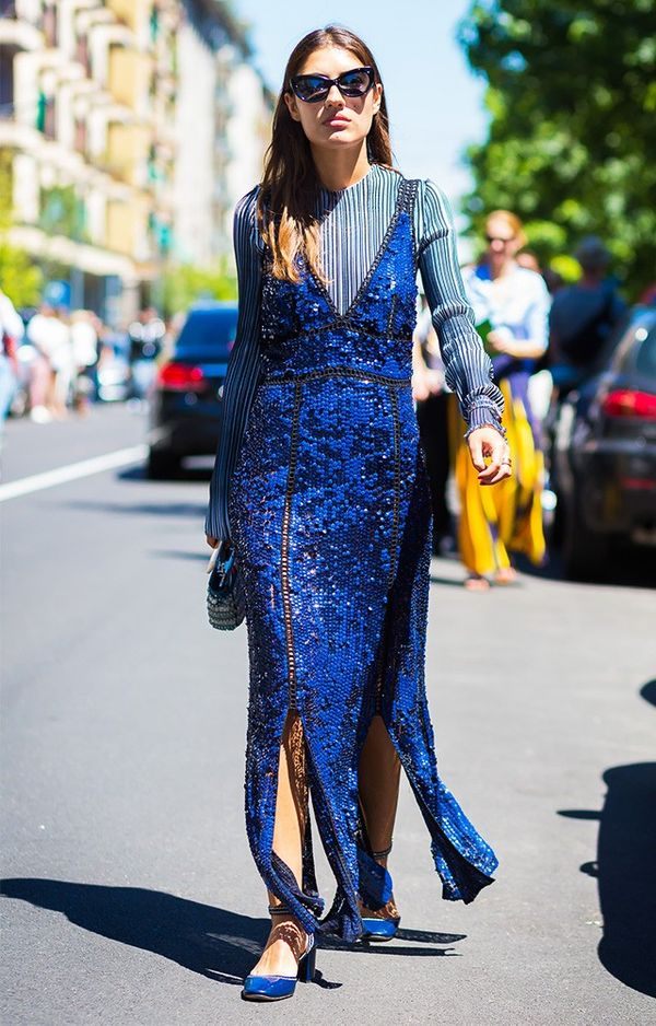 sequin maxi dress street style
