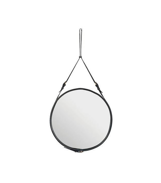 Jacques Adnet Circular Leather Mirror