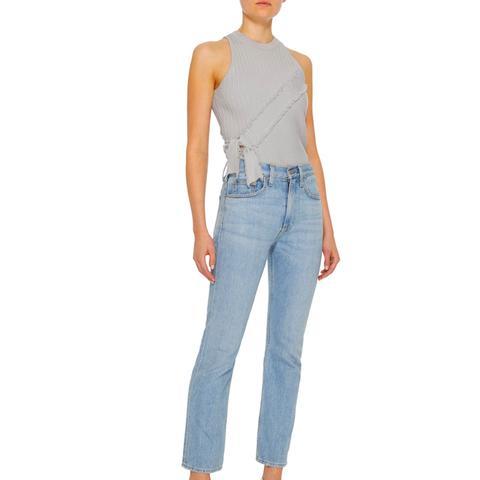 Frayed Ribbed-Knit Bodysuit