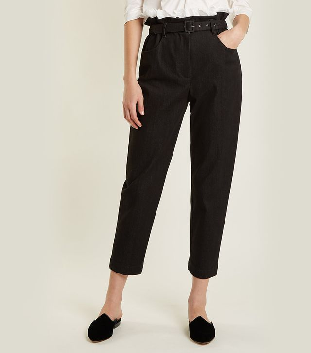 Belted tapered-leg denim cropped trousers