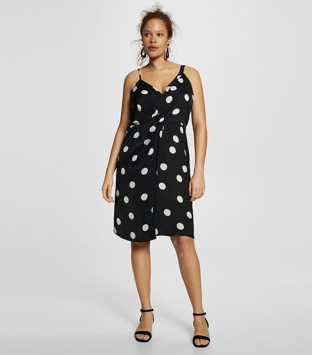 Violeta by Mango Polka Dots Draped Dress