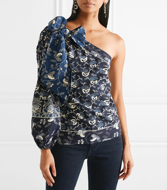 Asima One-shoulder Embroidered Printed Cotton-blend Top