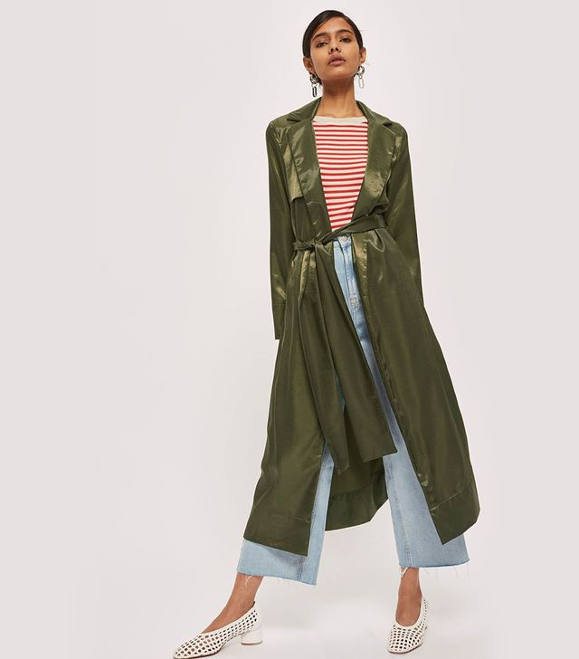 Belted Satin Duster Coat