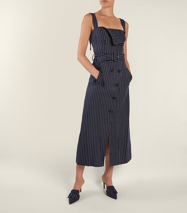 Audrey square-neck pinstriped midi dress