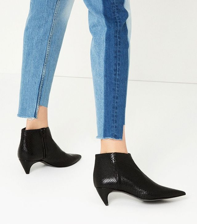 Zara Embossed Leather Low-Heel Ankle Boots