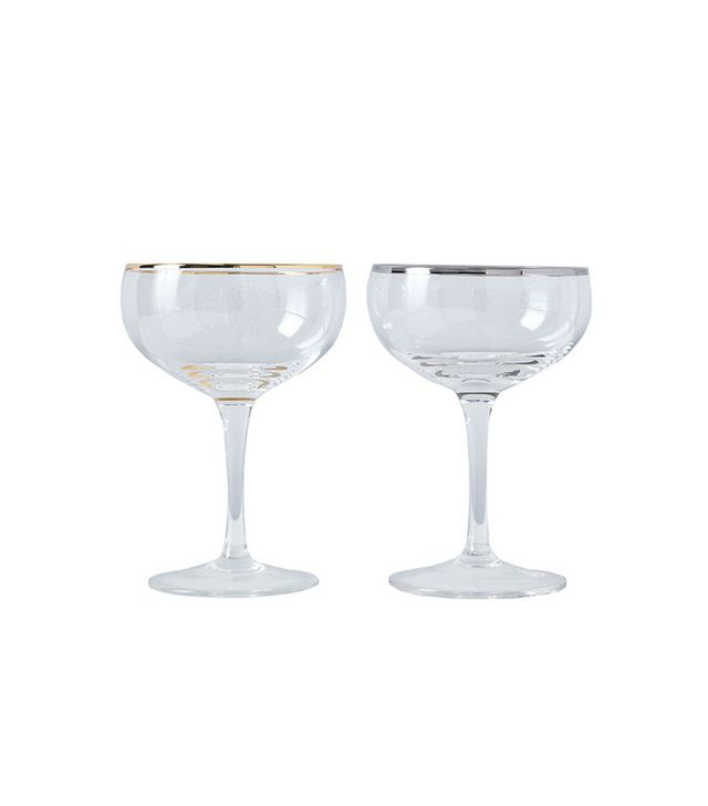 Cocktail Kingdom Metallic Rimmed Champagne Coupes