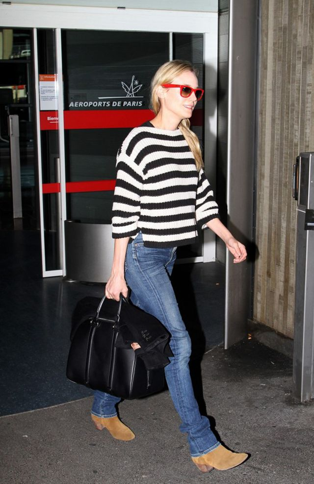 On Diane: Ann Taylor Cotton Stripe Ribbed 3/4 Sleeve Sweater ($20); Citizens of Humanity Arley High Waisted Jeans ($229); Barbara Bui Dude Tote ($1725); ankle boots; Ray-Ban RB2140 Sunglasses...