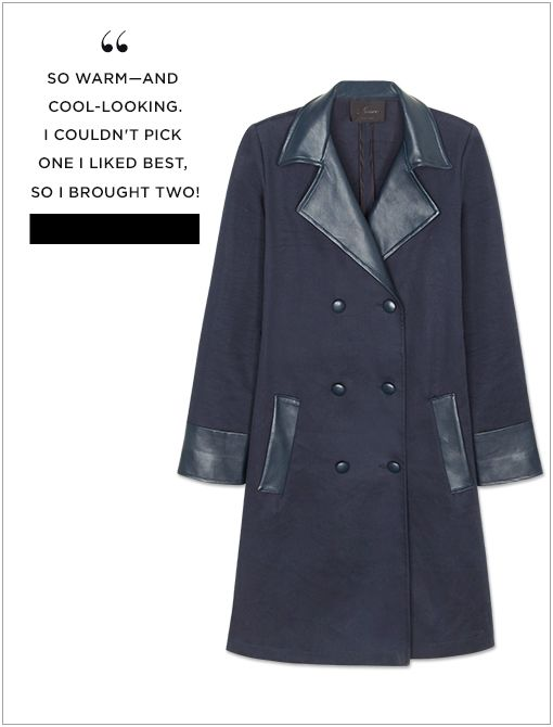 Navy Bonded Lambskin Accent Consela Trench Coat ($895, 310.452.0950)