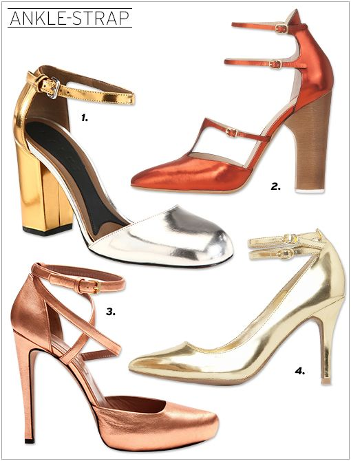 Marni Bicolor Metallic Leather Ankle Strap Pumps ($685) Chloe CH20764 Heels ($950) Jill Stuart Gwen Heels ($545, 212.343.2300) Mango Double Strap Pumps ($50)