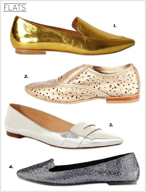 3.1 Phillip Lim Spade Loafer Flats ($425, available in February) Steve Madden Outlook Flats ($130) in Gold Leather kate spade new york Gwen Flats ($258) in Silver Ann Taylor Hadley Glitter...
