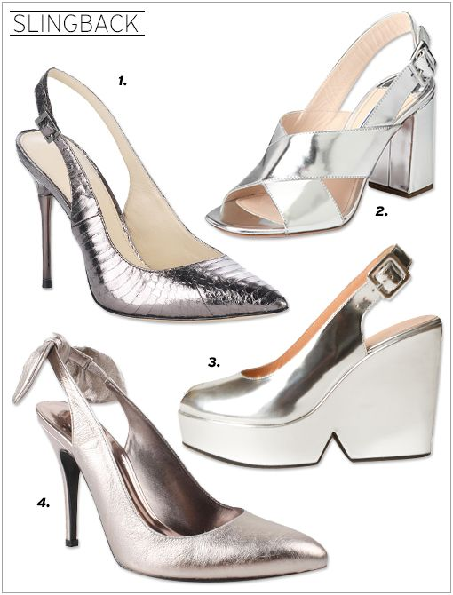 VC Signature Palazzo Slingbacks ($225) in Pewter Specchio Snake Prada Metallic Leather Crisscross Sandals ($620) Robert Clergerie Buckle Strap Peep Toe Wedges ($595) J. Renee Salsa Pumps ($90)