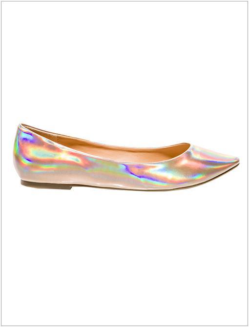 Hologram Ballet Flats ($17) in Gold