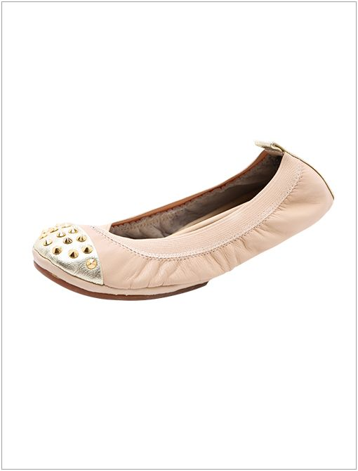 Studded Cap Toe Flats ($80) in Nude/Gold