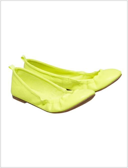 Scrunched Ballet Flats ($30) in Neon Lemon