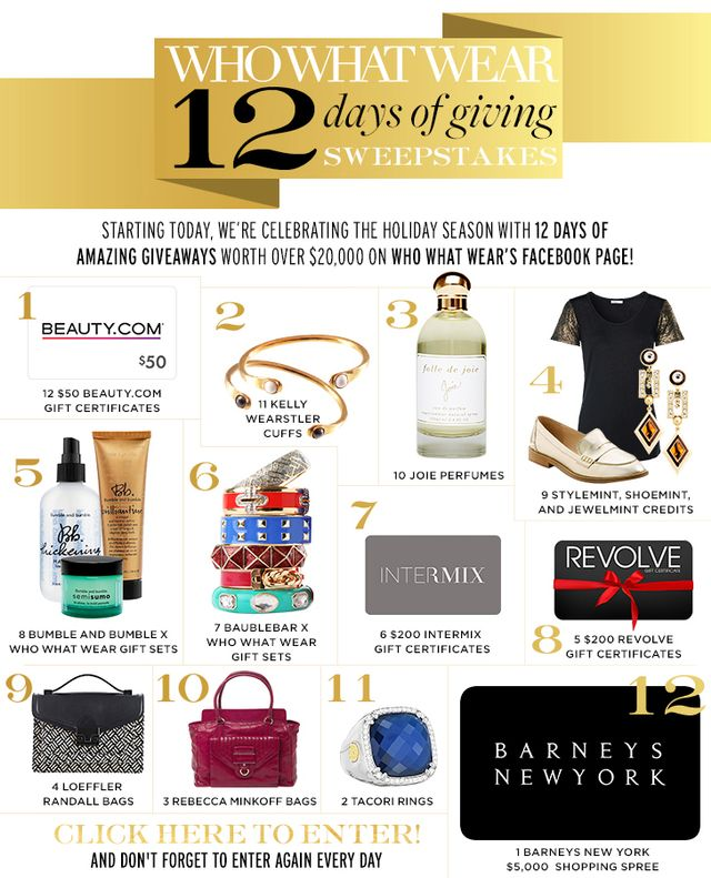 Who What Wear 12 Days of Giving Sweepstakes